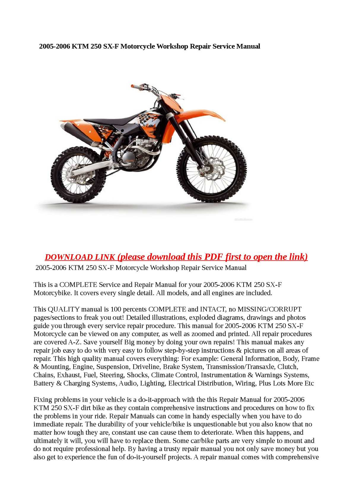Calaméo - 2005-2006 KTM 250 SX-F Motorcycle Workshop Repair Service Manual