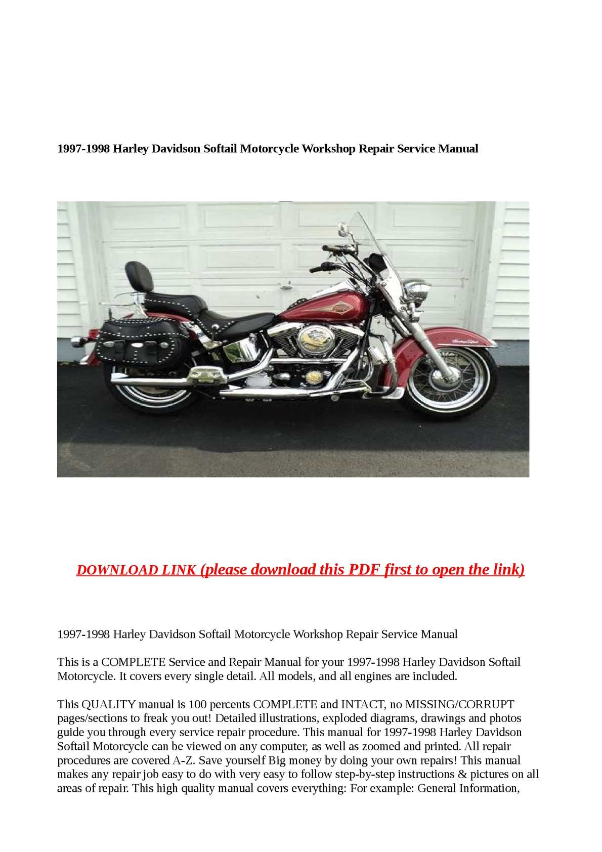 Calaméo - 1997-1998 Harley Davidson Softail Motorcycle Workshop Repair  Service Manual