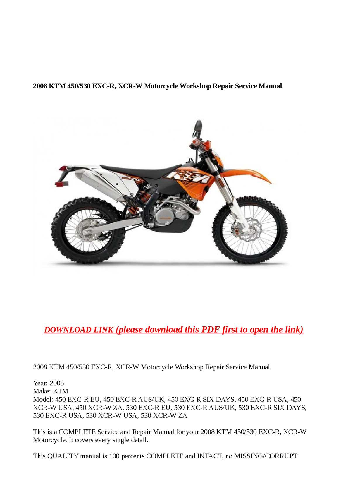 Calaméo - 2008 KTM 450/530 EXC-R, XCR-W Motorcycle Workshop Repair Service  Manual