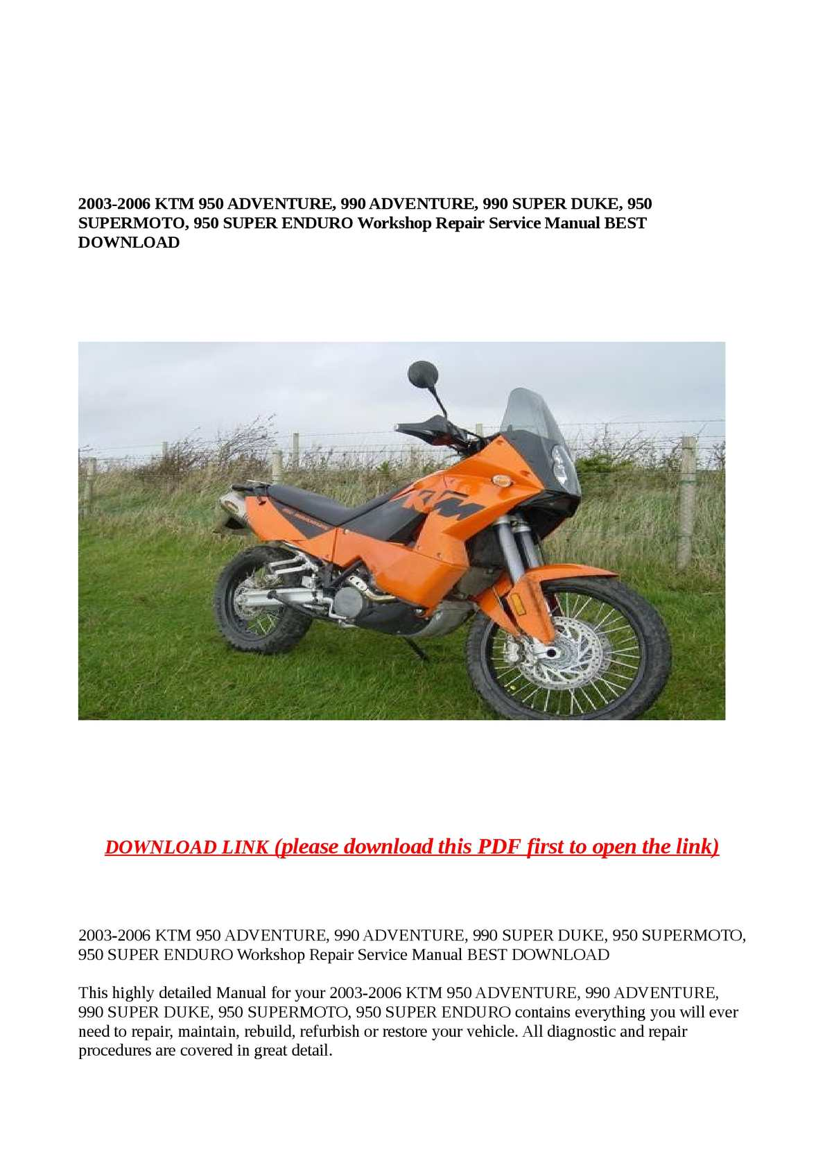 Calamo 2003 2006 Ktm 950 Adventure 990 Super Duke Case Wiring Diagram Supermoto Enduro Workshop Repair Service Manual Best Download