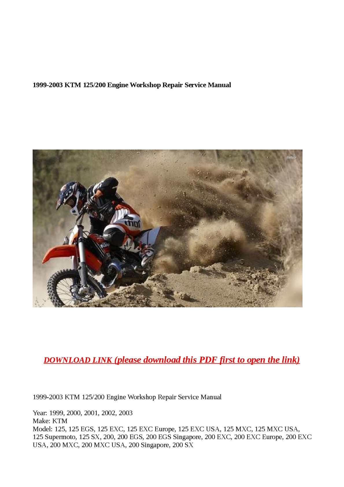 Calameo 1999 2003 Ktm 125 200 Engine Workshop Repair Service Manual