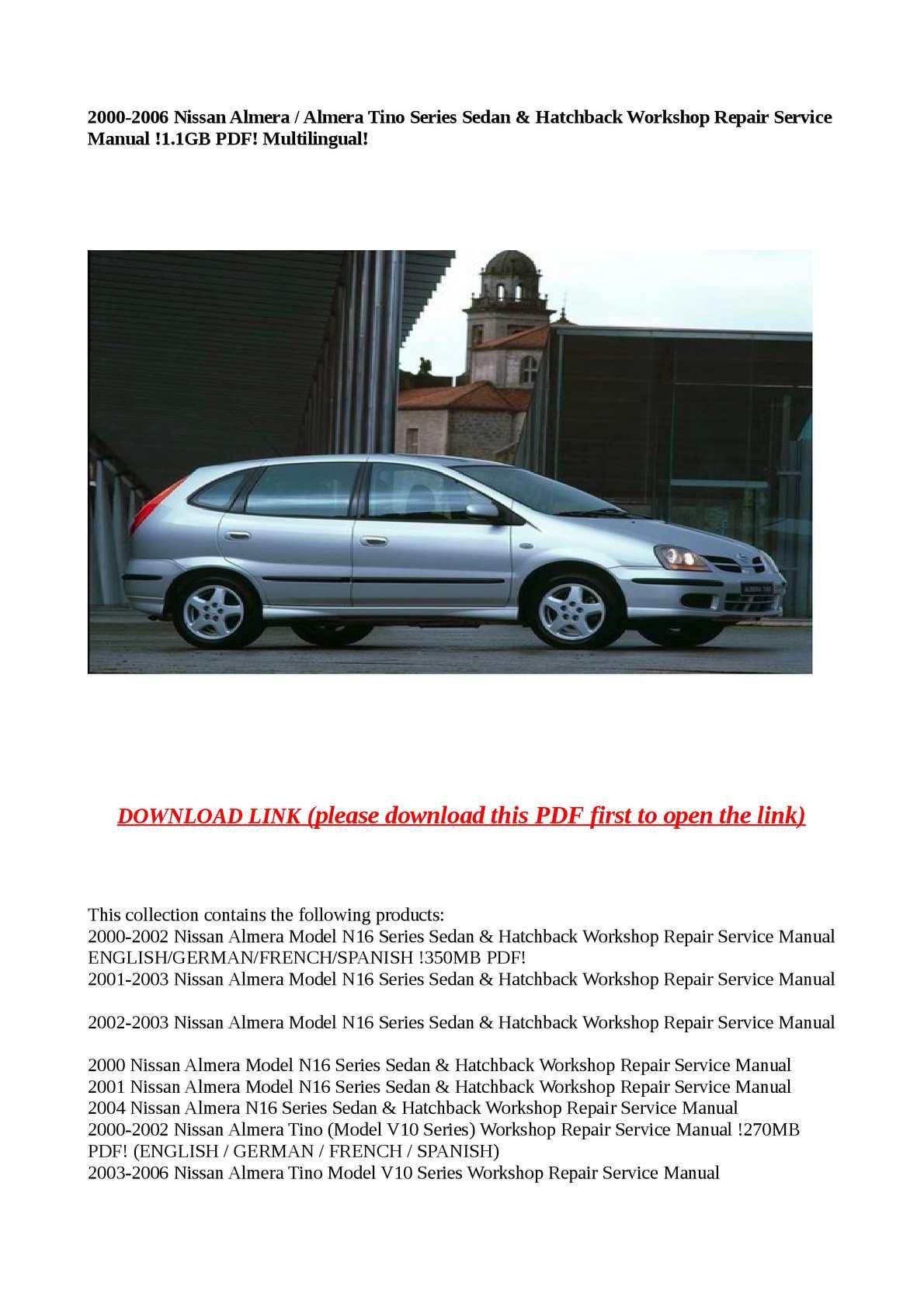 Calaméo - 2000-2006 Nissan Almera / Almera Tino Series Sedan & Hatchback  Workshop Repair Service Manual !1.1GB PDF! Multilingual!