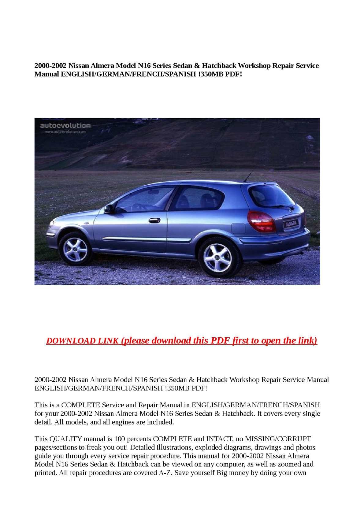Calaméo - 2000-2002 Nissan Almera Model N16 Series Sedan & Hatchback Workshop  Repair Service Manual ENGLISH/GERMAN/FRENCH/SPANISH !350MB PDF!