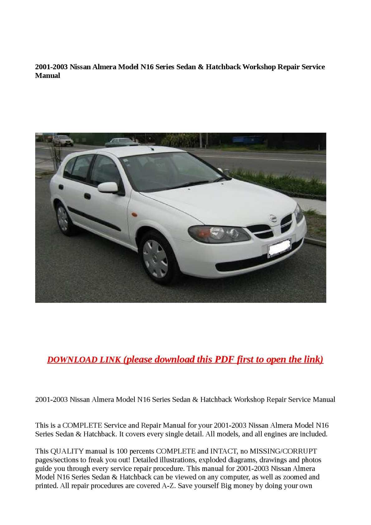 calam o 2001 2003 nissan almera model n16 series sedan hatchback rh calameo  com Nissan Versa 2001 nissan almera workshop manual