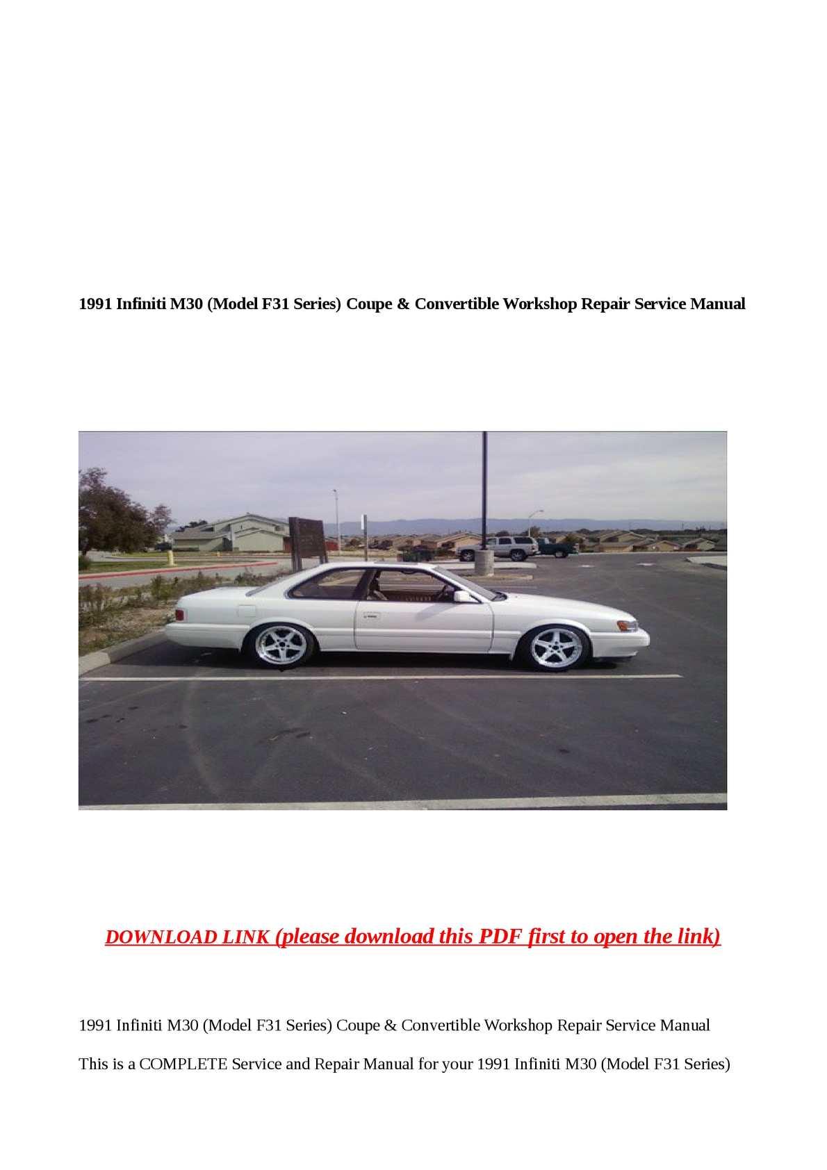 Calaméo - 1991 Infiniti M30 (Model F31 Series) Coupe & Convertible Workshop
