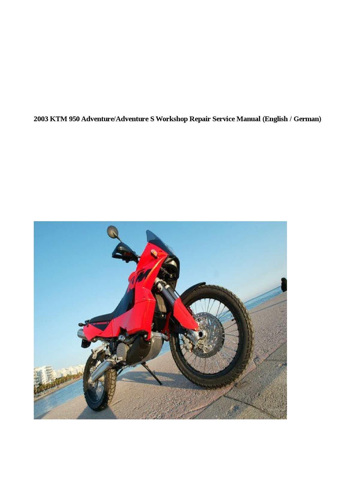 Calaméo - 2003 KTM 950 Adventure/Adventure S Workshop Repair Service Manu