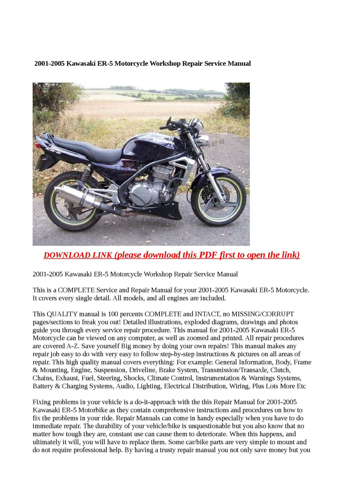 Calaméo - 2001-2005 Kawasaki ER-5 Motorcycle Workshop Repair Service Manual