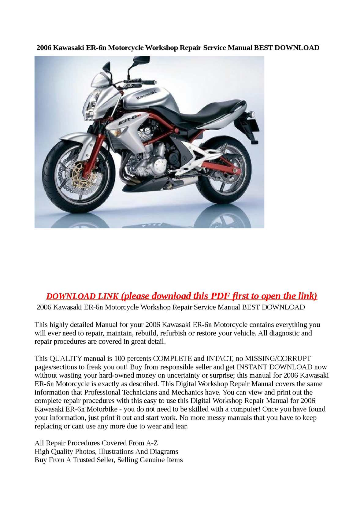 Kawasaki Er 6 Wiring Diagram Pdf Automotive Diagrams Er6f Calam O 2006 Er6n Motorcycle Workshop Repair Service Manual Best Download