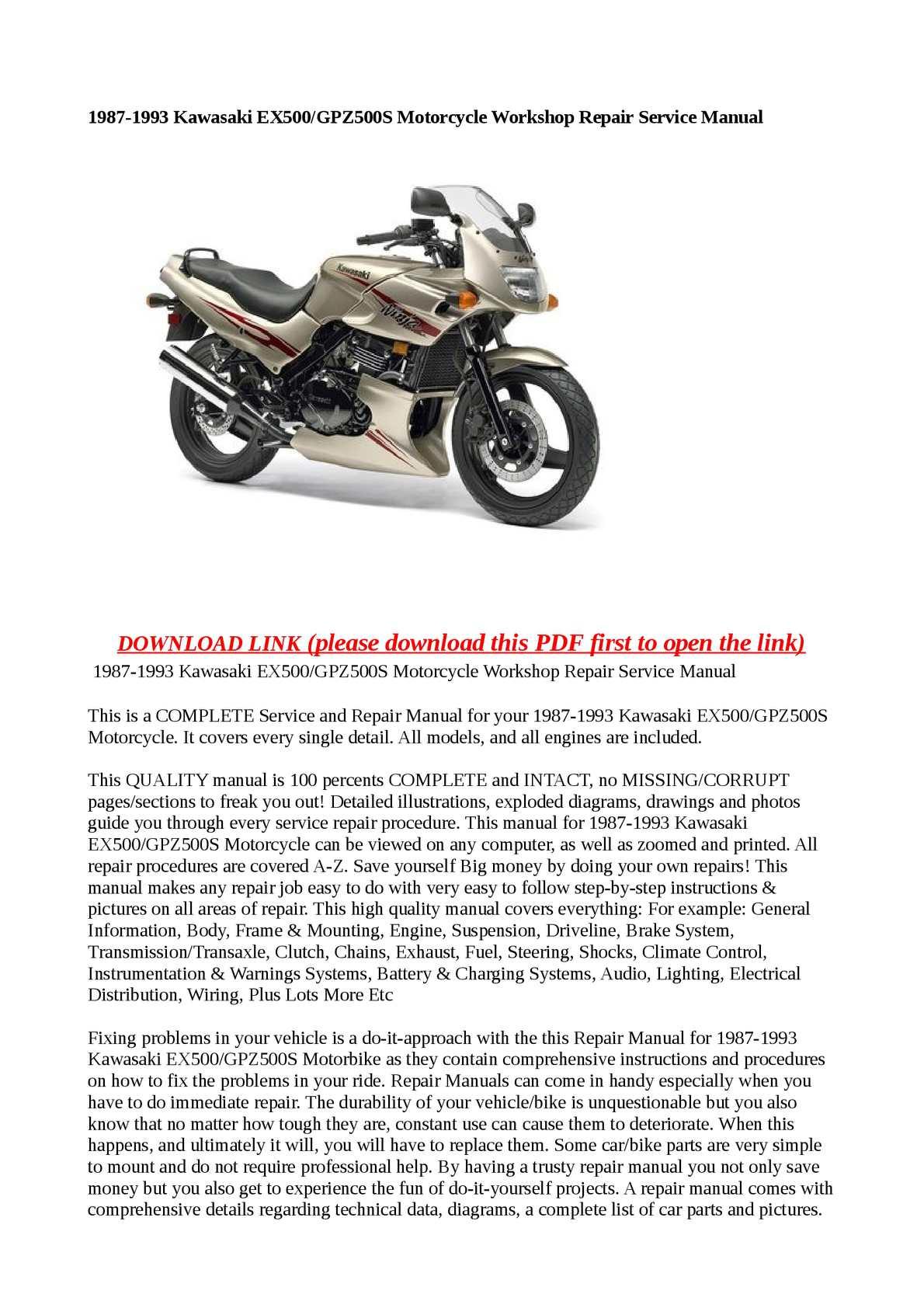 Calaméo - 1987-1993 Kawasaki EX500/GPZ500S Motorcycle Workshop Repair  Service Manual