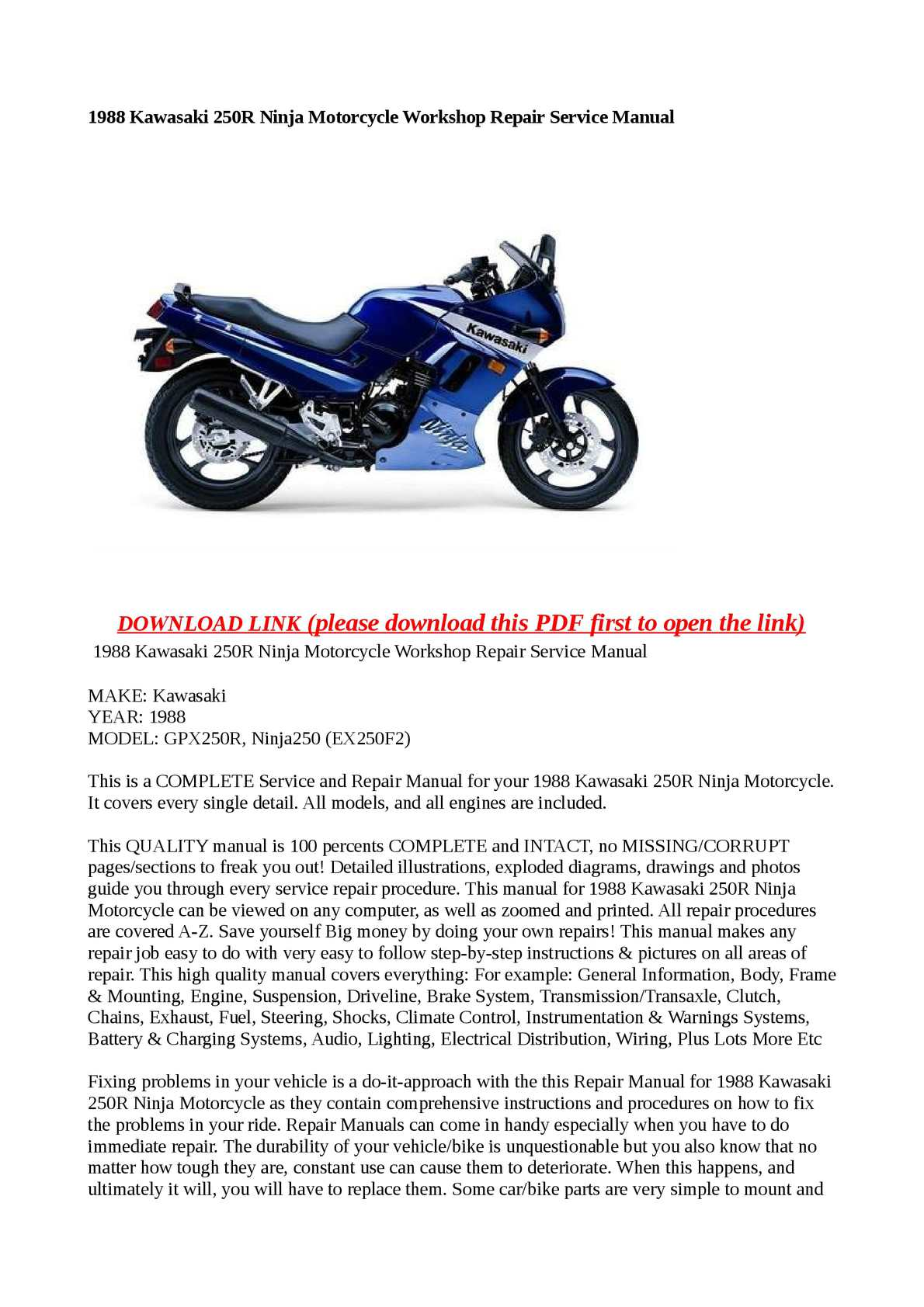 Calaméo - 1988 Kawasaki 250R Ninja Motorcycle Workshop Repair Service Manual