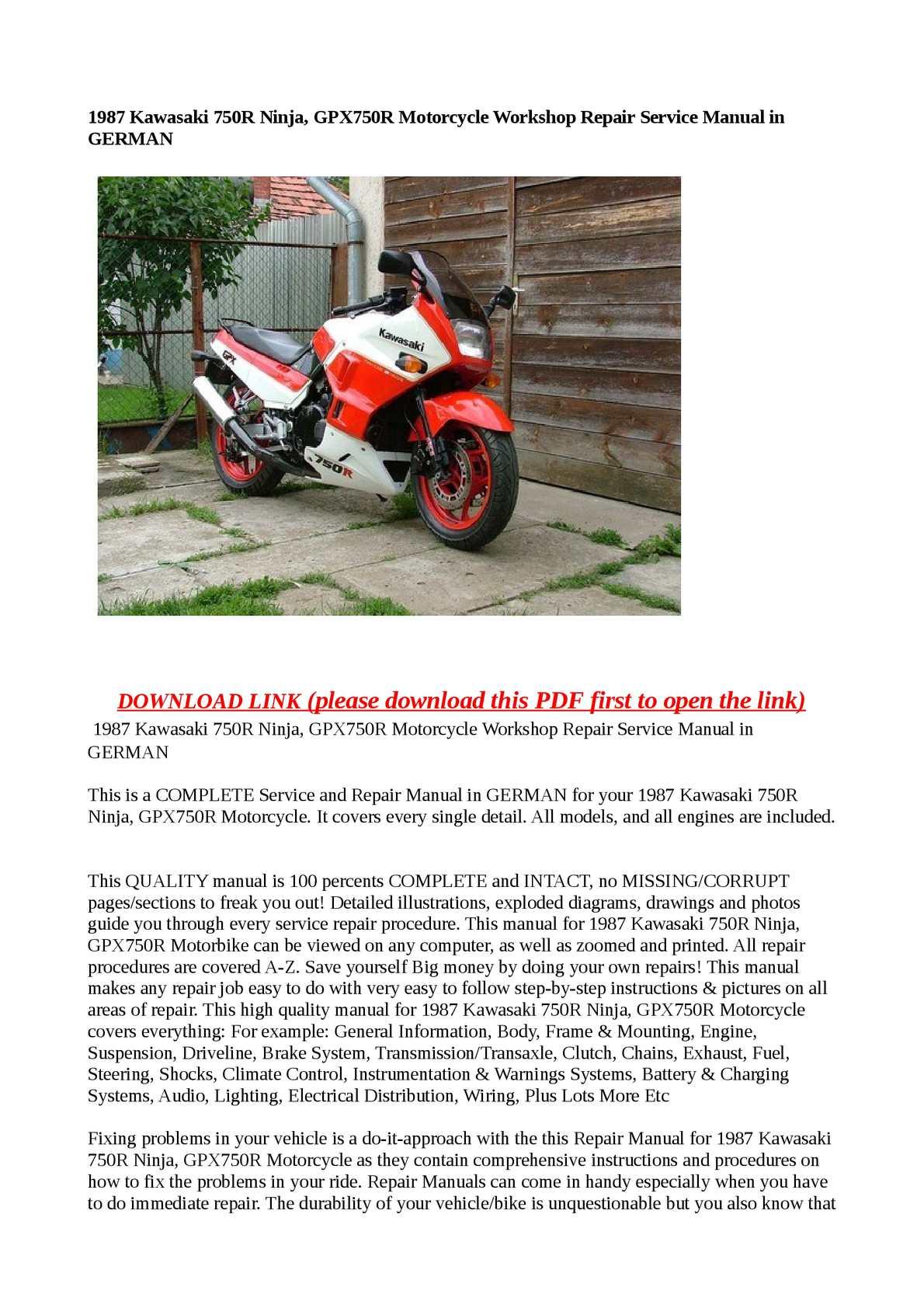 1987 Kawasaki 750R Ninja, GPX750R Motorcycle Workshop Repair Service Manual  in GERMAN