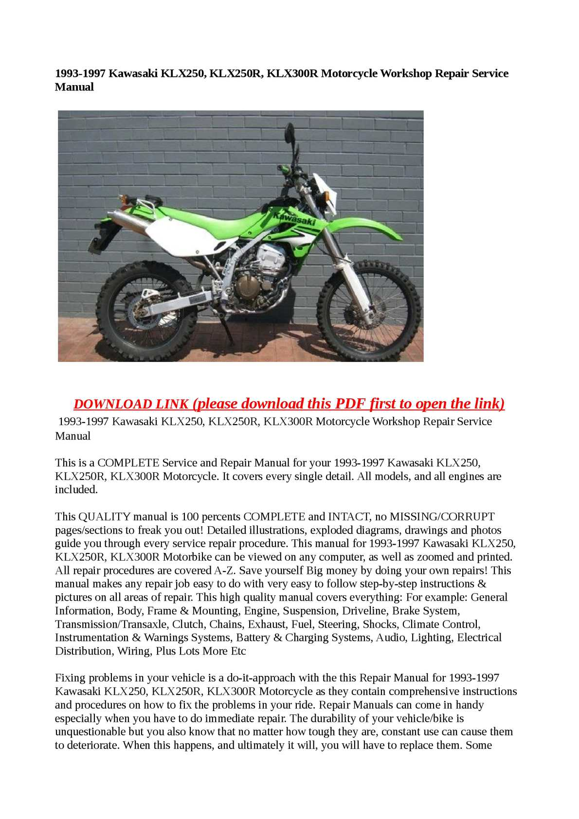 Calaméo - 1993-1997 Kawasaki KLX250, KLX250R, KLX300R Motorcycle Workshop  Repair Service Manual