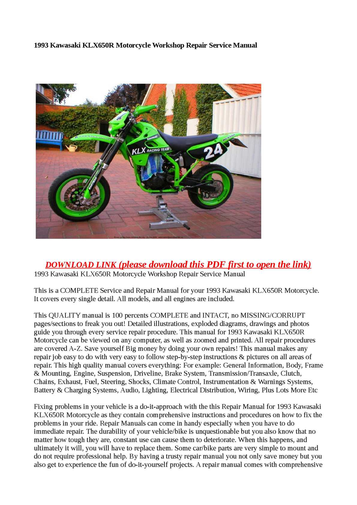 Calaméo - 1993 Kawasaki KLX650R Motorcycle Workshop Repair Service Manual