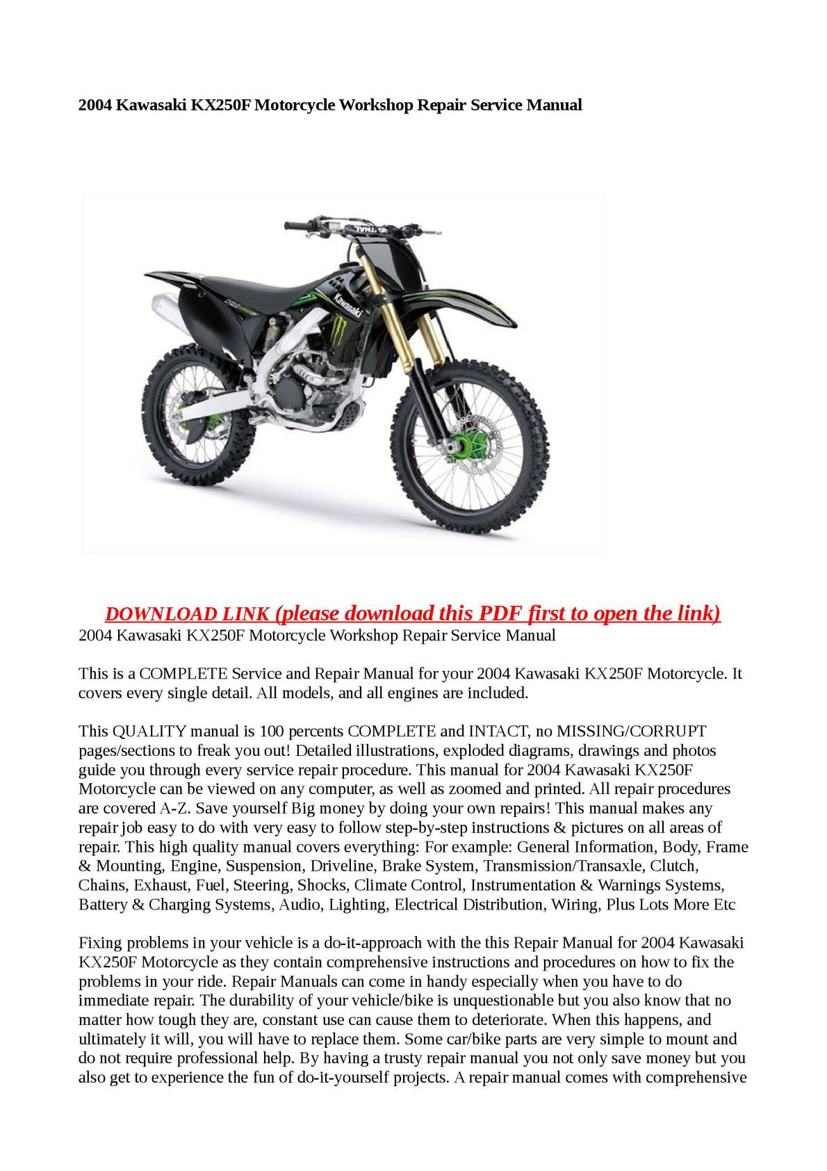 calam o 2004 kawasaki kx250f motorcycle workshop repair service manual rh  calameo com 2004 kx250f service manual free download 2004 kawasaki kx250f  repair ...