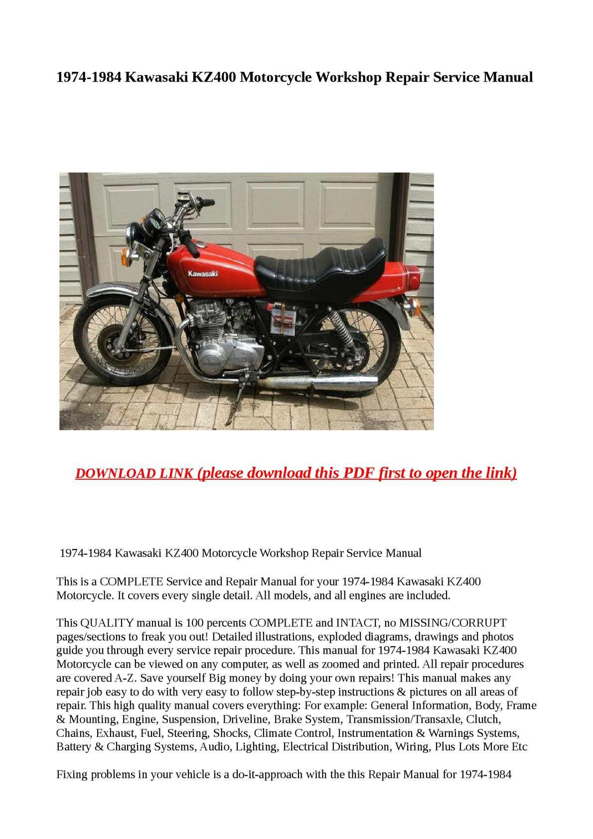 Calameo 1974 1984 Kawasaki Kz400 Motorcycle Workshop Repair Service Manu