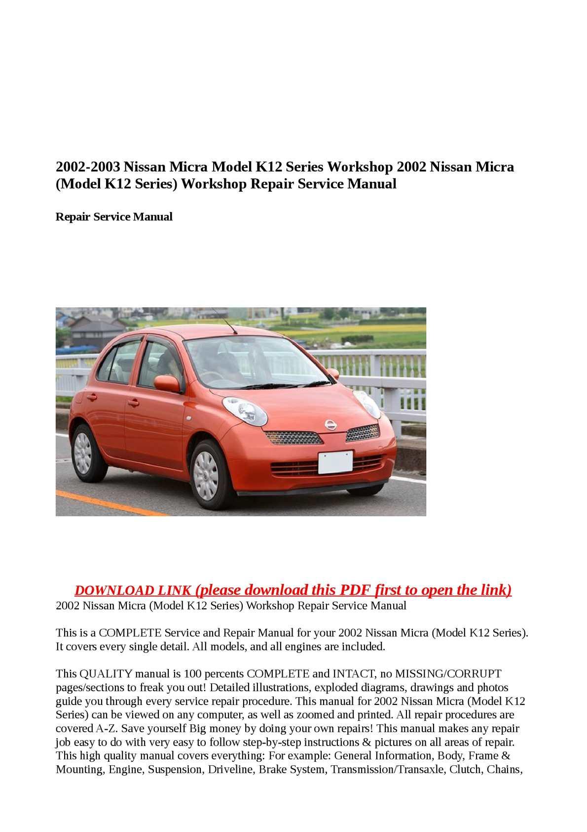 Calaméo - 2002 Nissan Micra (Model K12 Series) Workshop Repair Service  Manual