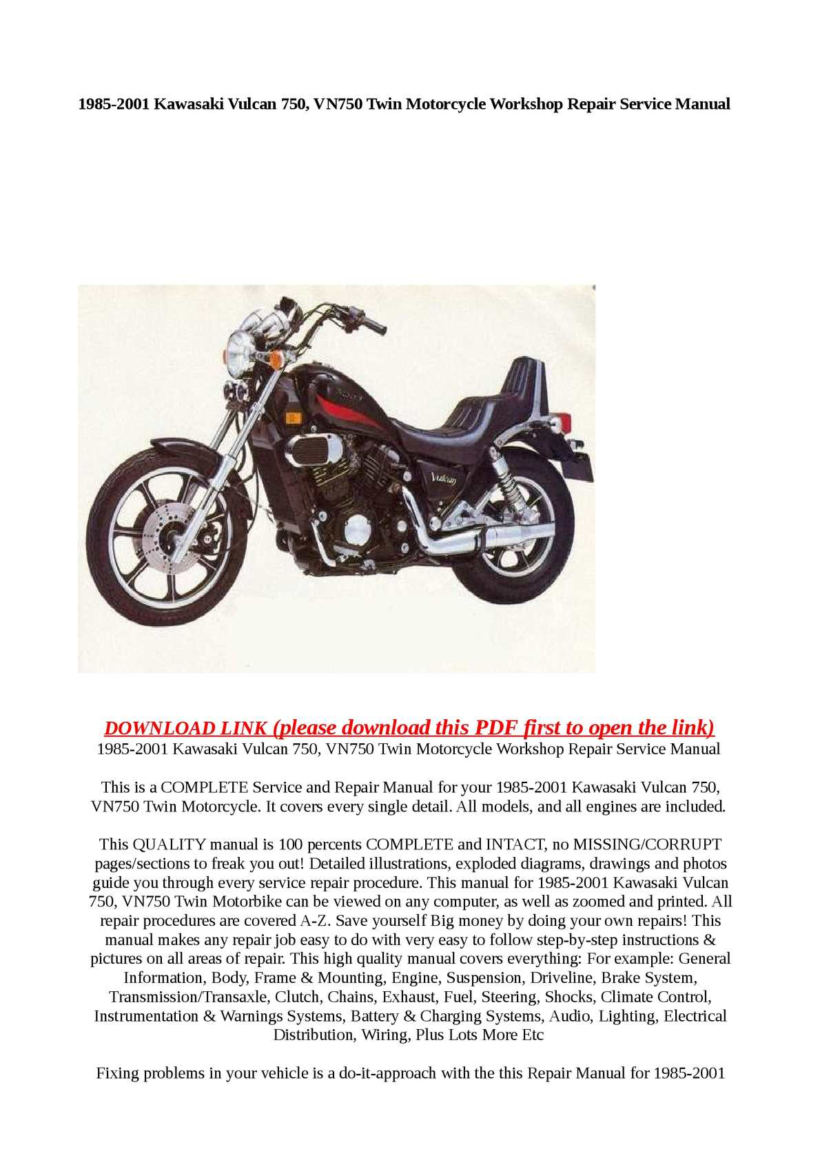 Kawasaki Vulcan 750 Service Manual Free Download Daily Instruction 2001 1500 Wiring Diagram Picture Calam O 1985 Vn750 Twin Motorcycle Rh Calameo Com Blue Custom