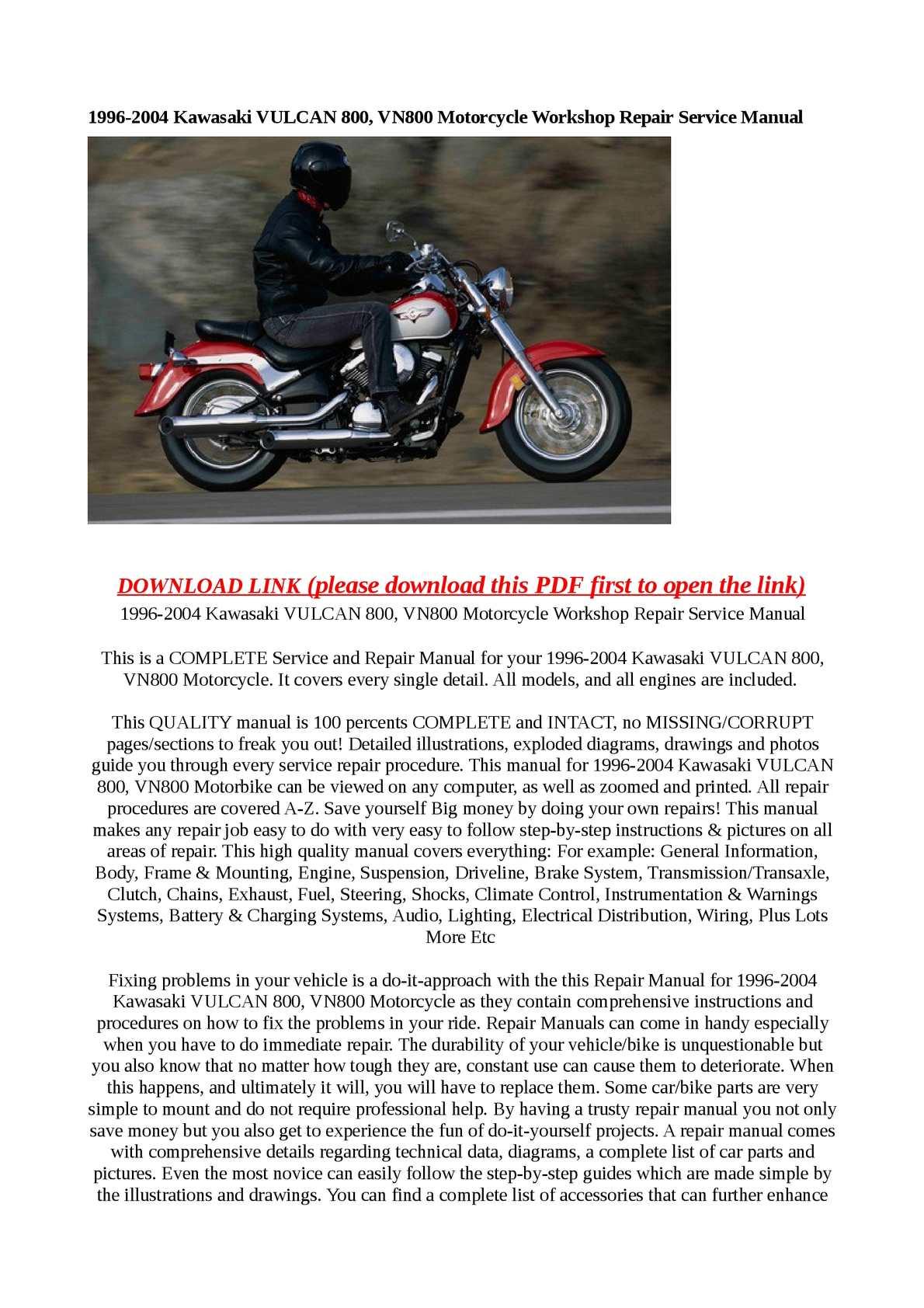 Calaméo - 1996-2004 Kawasaki VULCAN 800, VN800 Motorcycle Workshop Repair  Service Manual