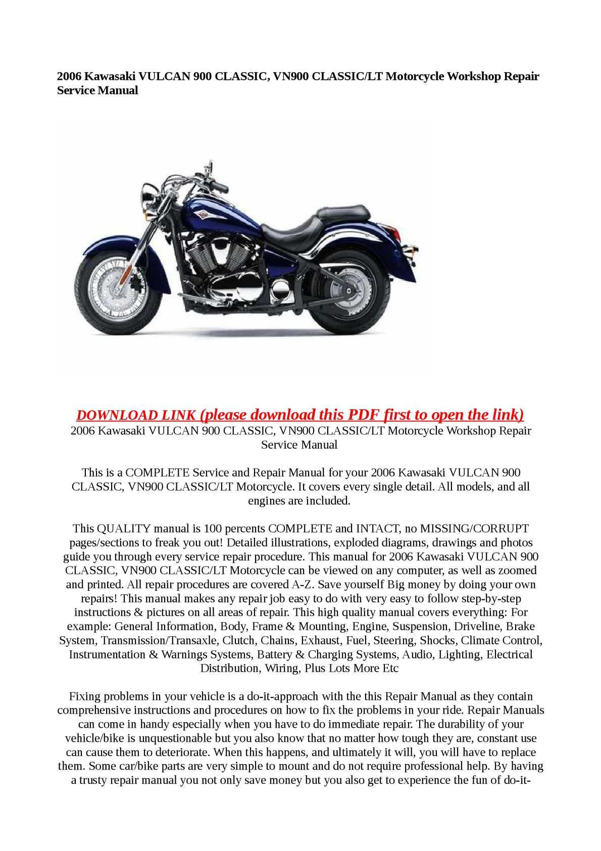 Kawasaki vulcan 900 lt owners manual owners guide books.