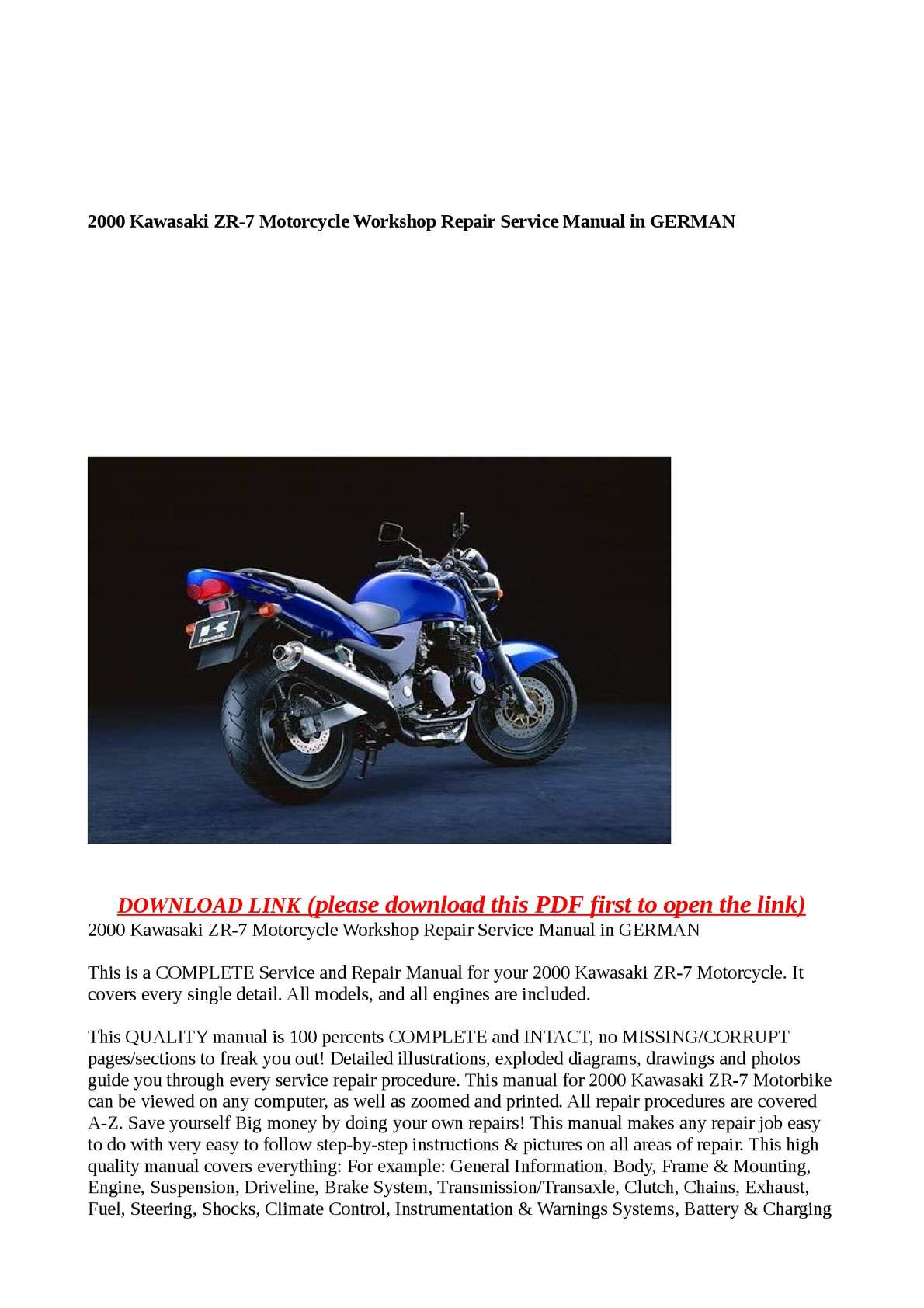 Calaméo - 2000 Kawasaki ZR-7 Motorcycle Workshop Repair Service Manual in