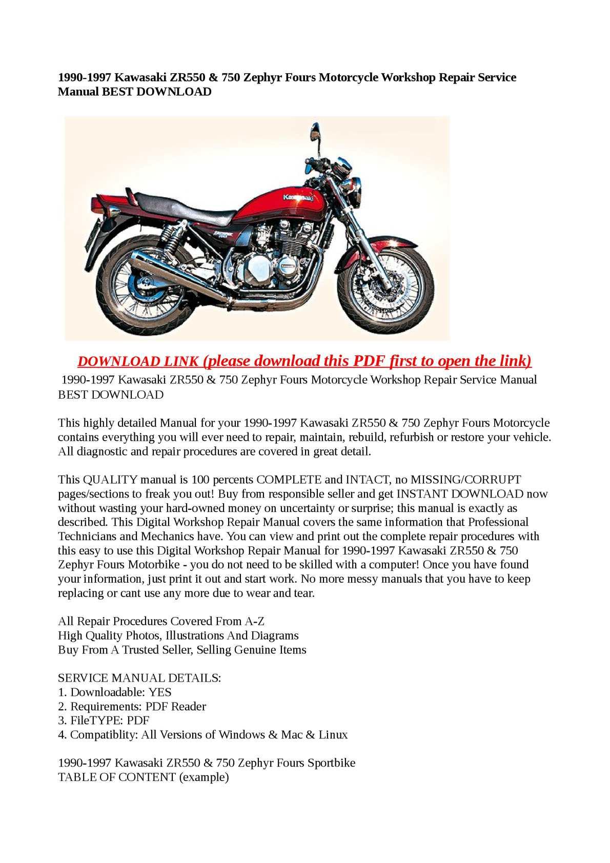 Calaméo - 1990-1997 Kawasaki ZR550 & 750 Zephyr Fours Motorcycle Workshop  Repair Service Manual BEST DOWNLOAD