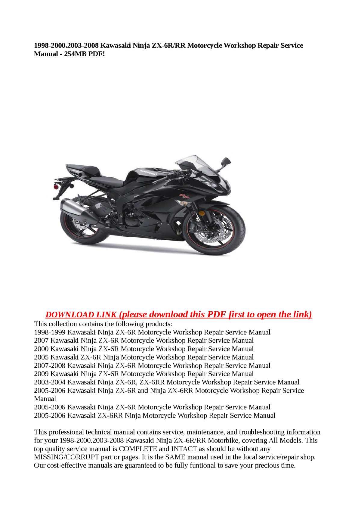 Calameo 1998 2000 2003 2008 Kawasaki Ninja Zx 6r Rr Motorcycle Worksho