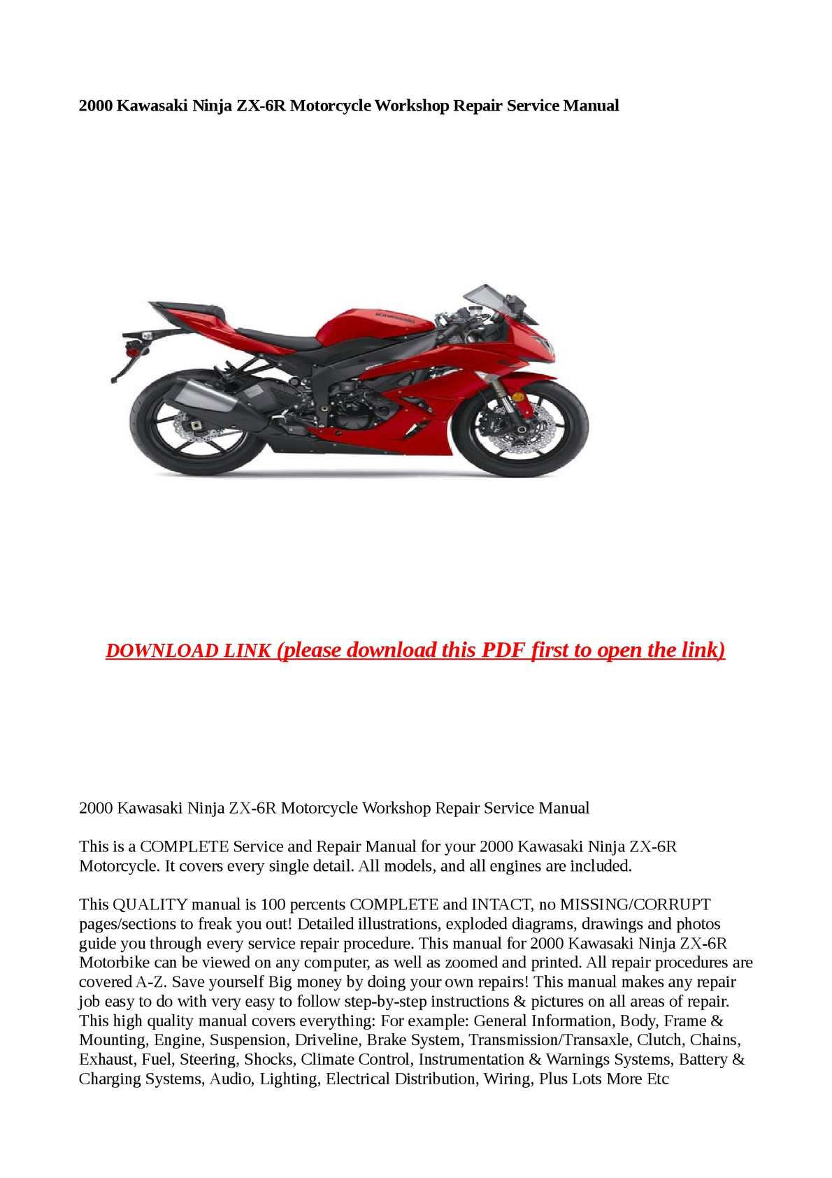 Calaméo 2000 Kawasaki Ninja Zx 6r Motorcycle Workshop Repair