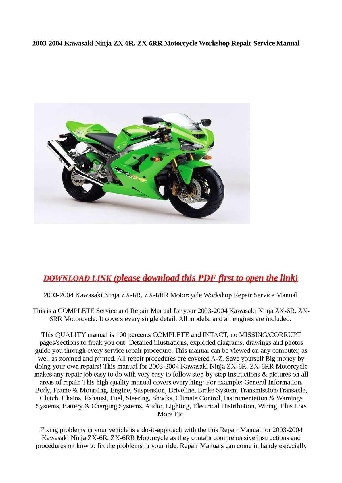 Calaméo - 2003-2004 Kawasaki Ninja ZX-6R, ZX-6RR Motorcycle Workshop Repair  Service Manual