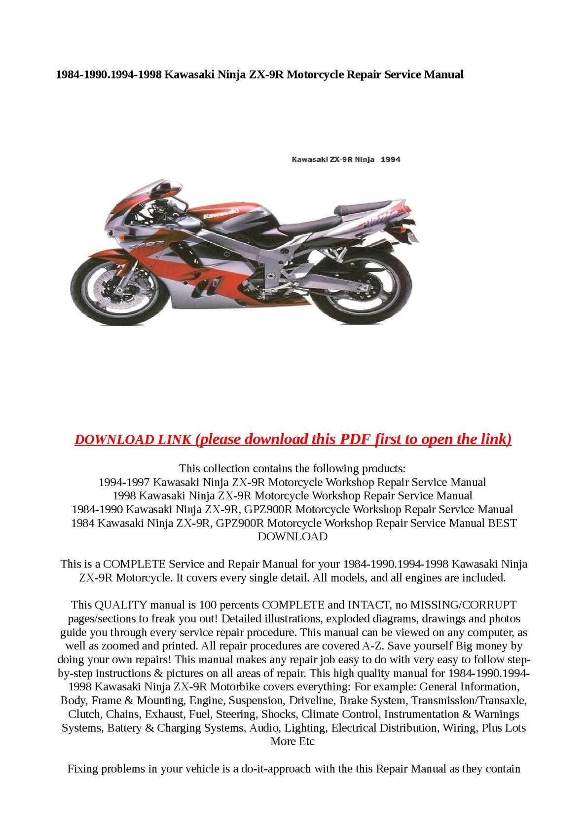 Calaméo - 1984-1990.1994-1998 Kawasaki Ninja ZX-9R Motorcycle Repair  Service Manual
