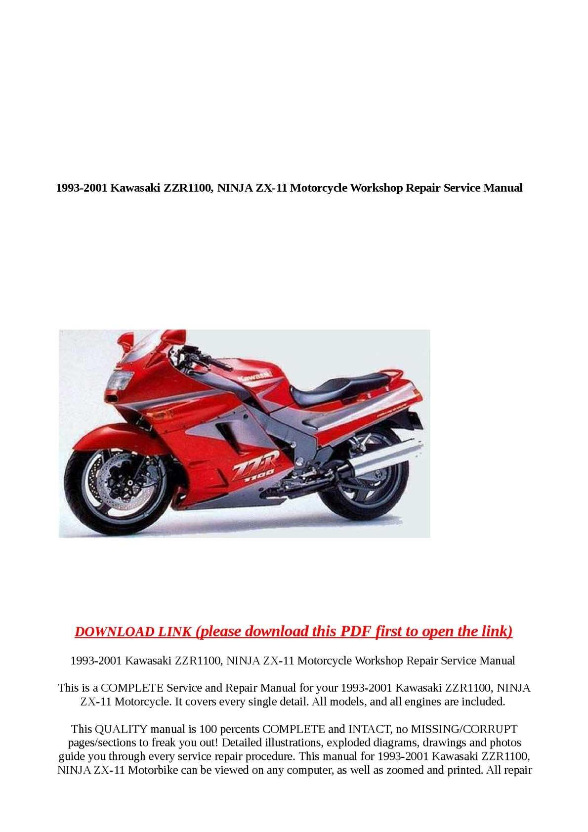 Calaméo - 1993-2001 Kawasaki ZZR1100, NINJA ZX-11 Motorcycle Workshop Rep