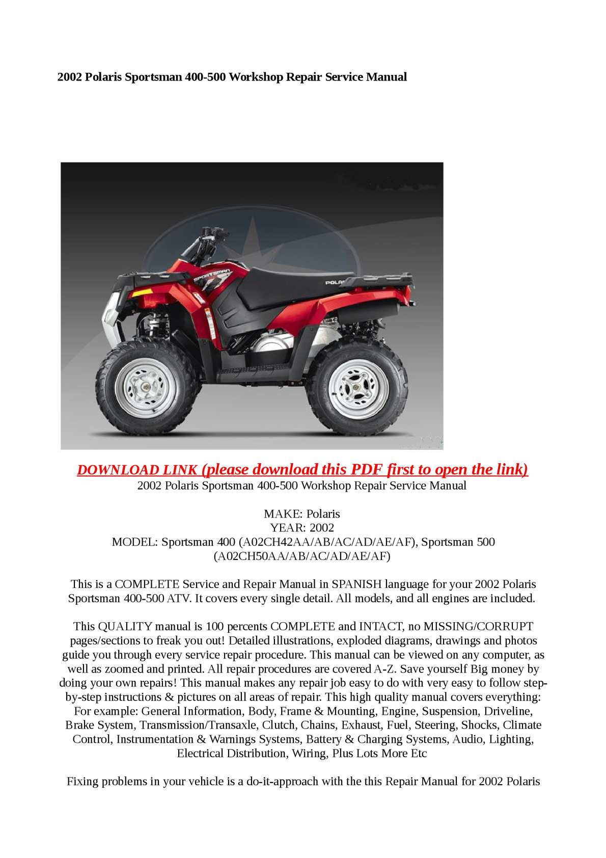 Calameo 2002 Polaris Sportsman 400 500 Workshop Repair Service Manual