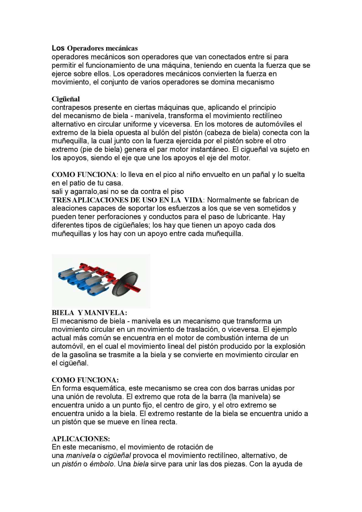 Biela manivela usos y aplicaciones