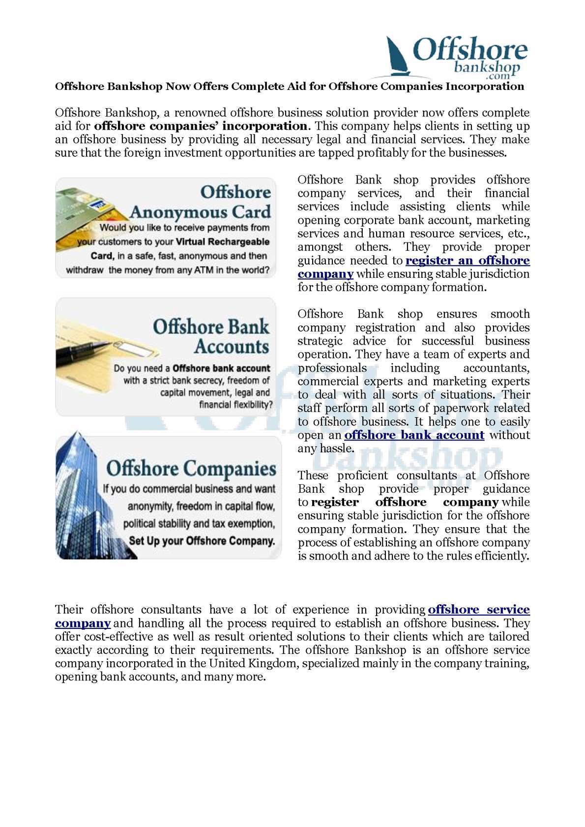 Calaméo - Offshore Bankshop Now Offers Complete Aid for Offshore