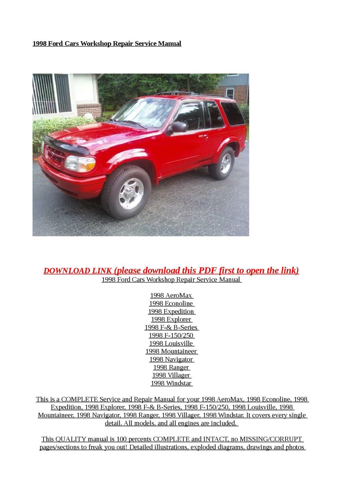 calam o 1998 ford cars workshop repair service manual rh calameo com