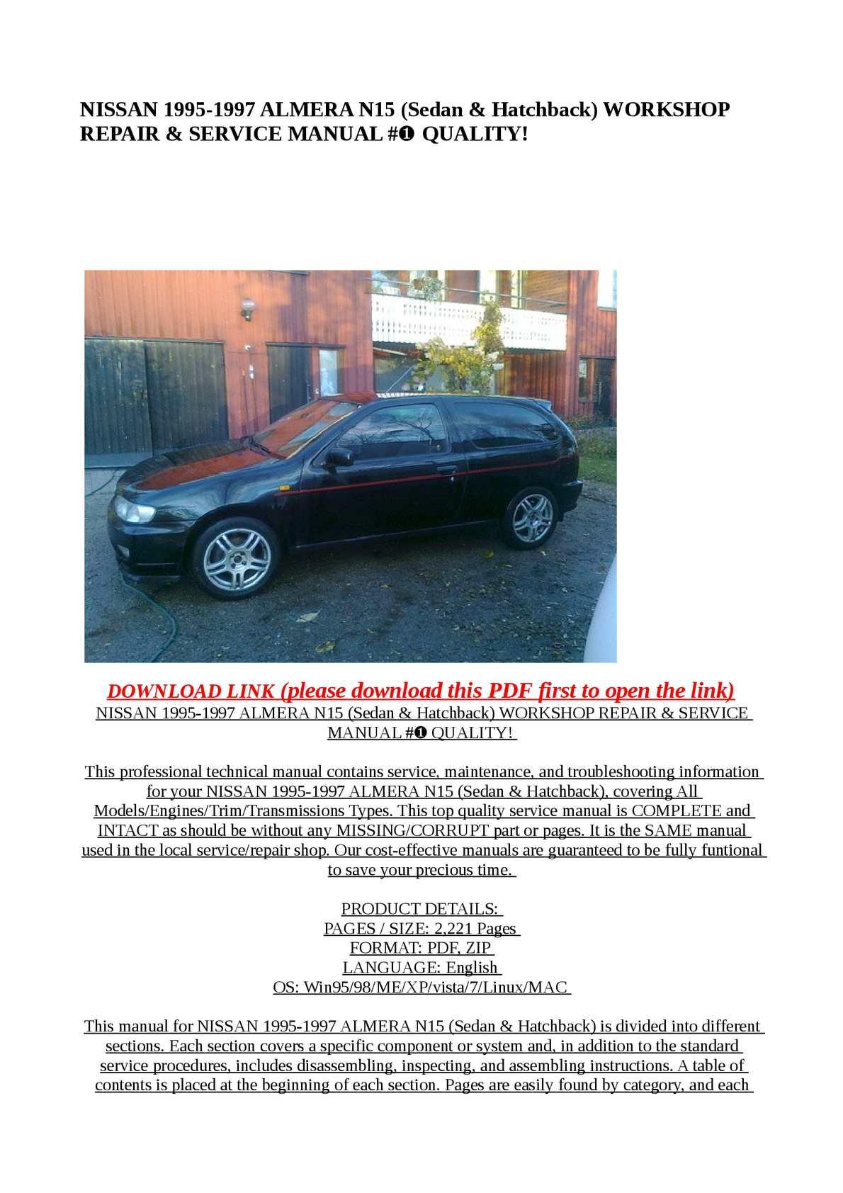 Calaméo - NISSAN 1995-1997 ALMERA N15 (Sedan & Hatchback) WORKSHOP REPAIR & SERVICE  MANUAL #➀ QUALITY!