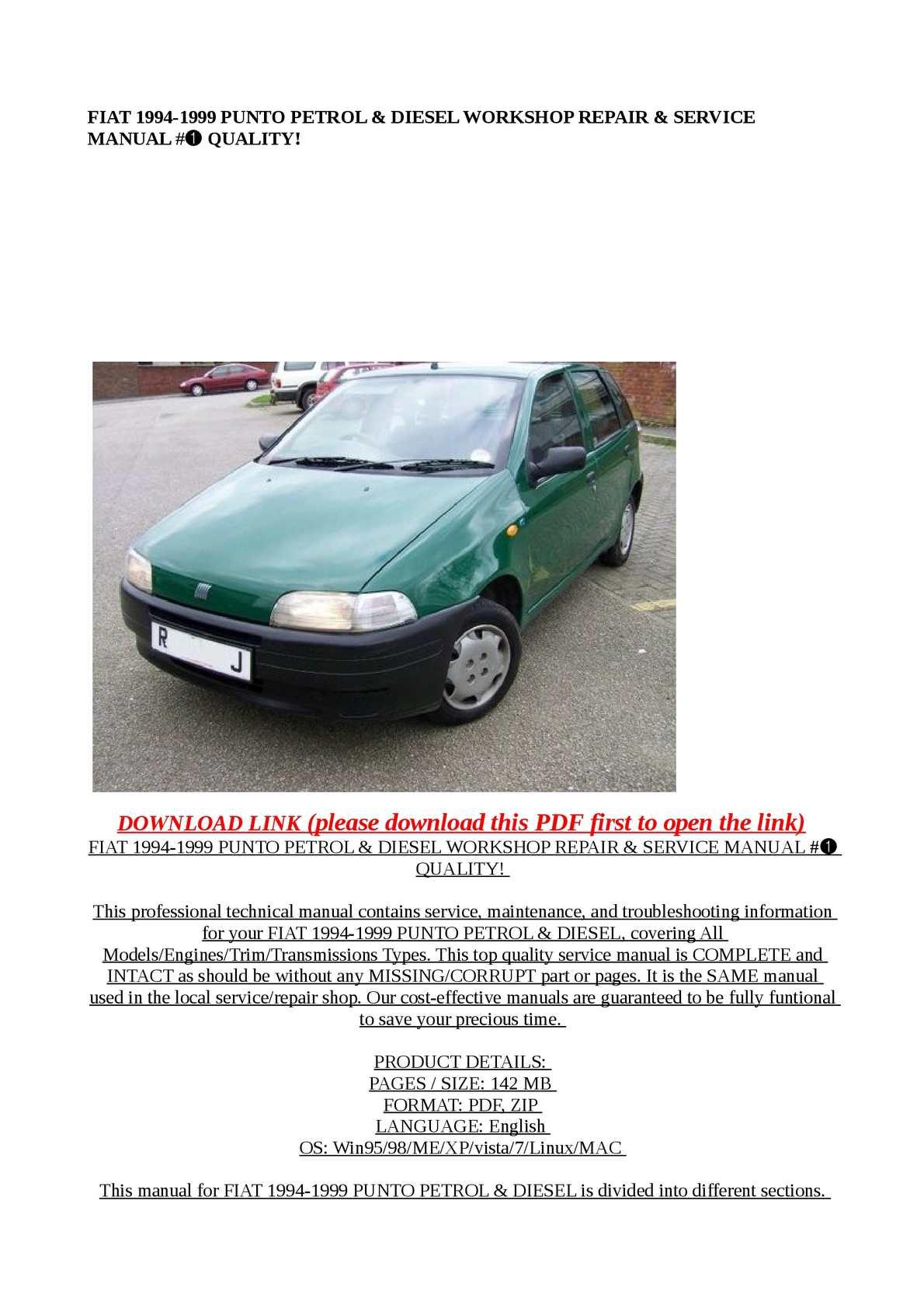 ... manual Array - calam o fiat 1994 1999 punto petrol u0026 diesel works  rh calameo ...