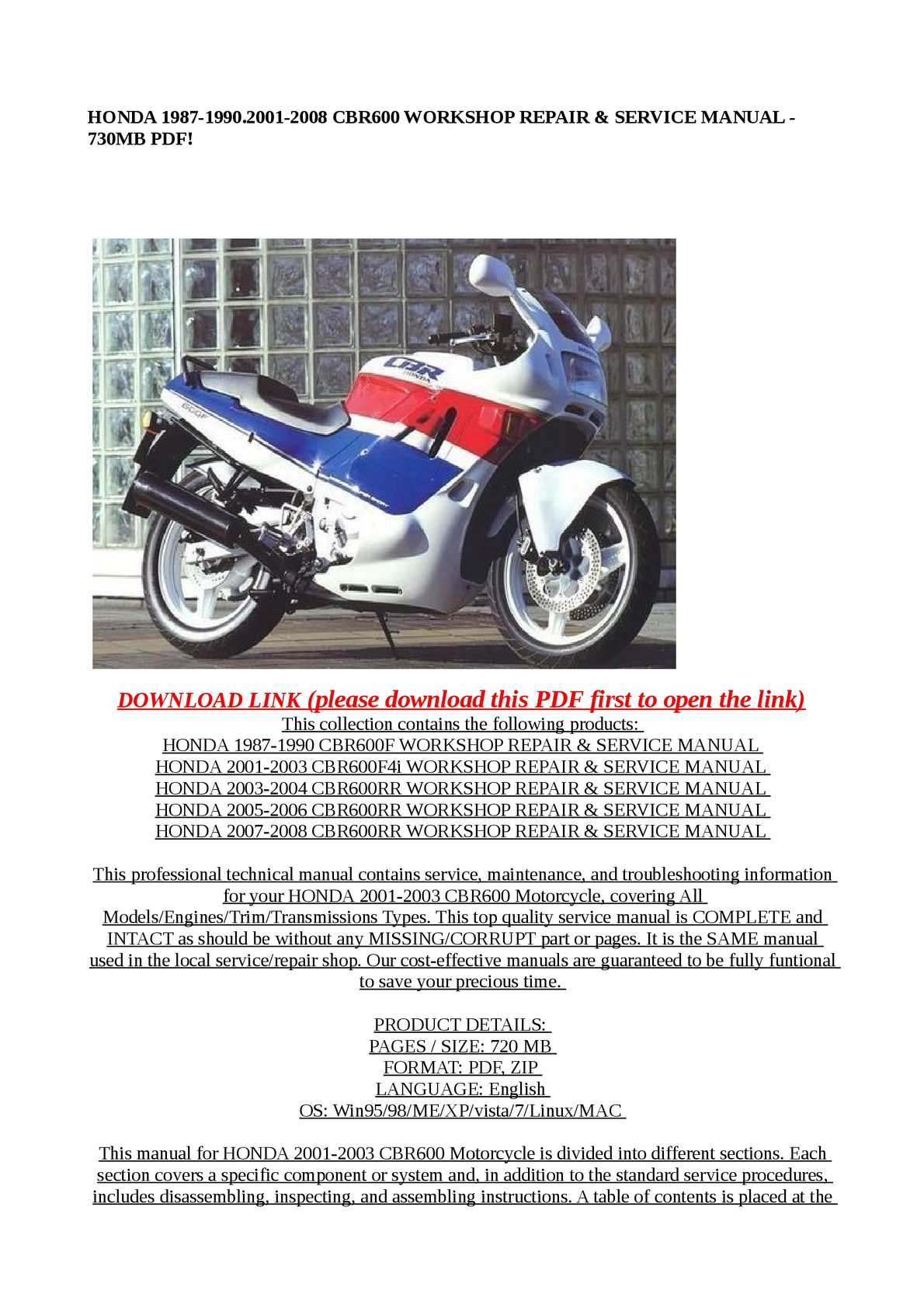 Calameo Honda 1987 1990 2001 2008 Cbr600 Workshop Repair Serv