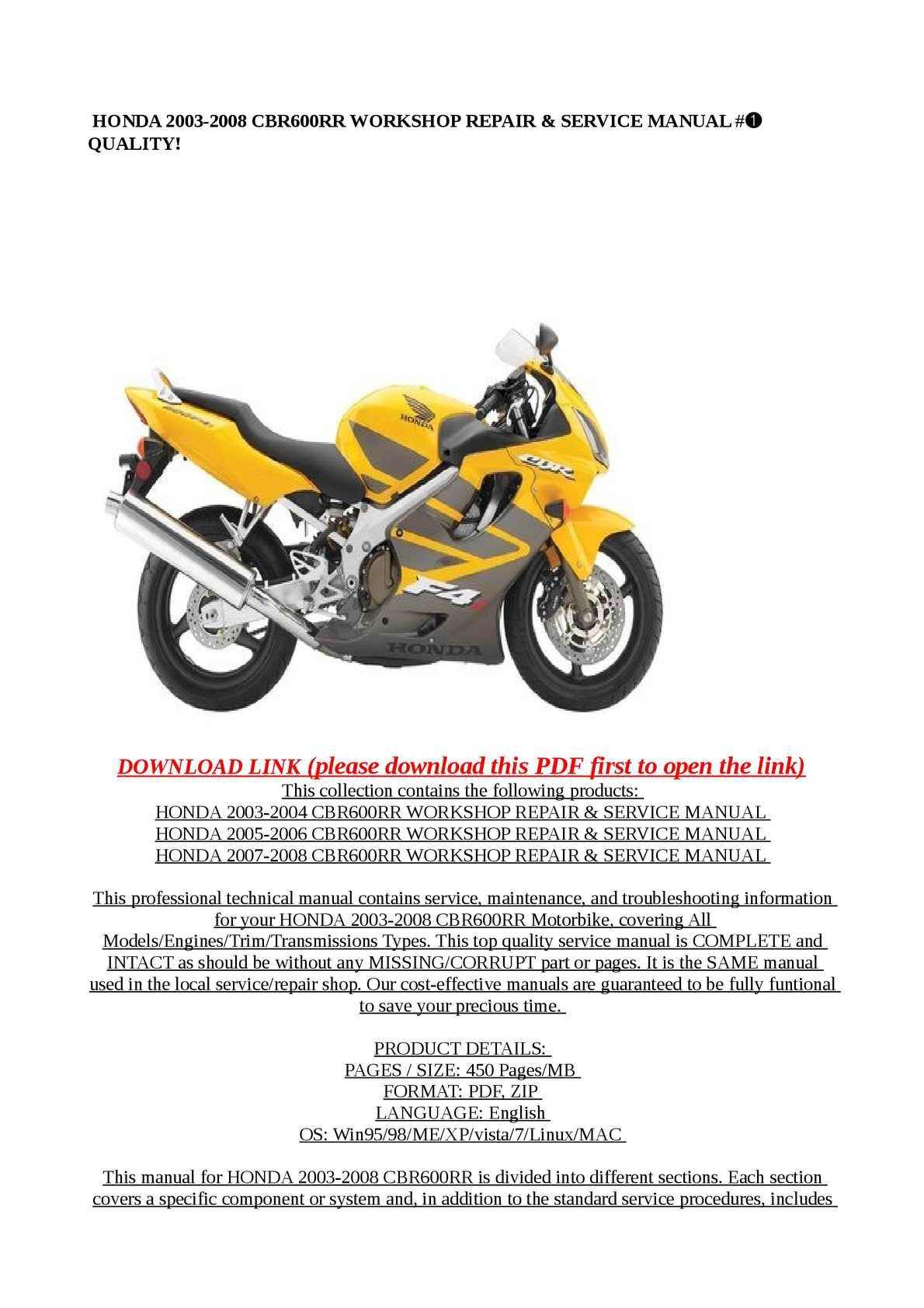 Calameo Honda 2003 2008 Cbr600rr Workshop Repair Service Manual