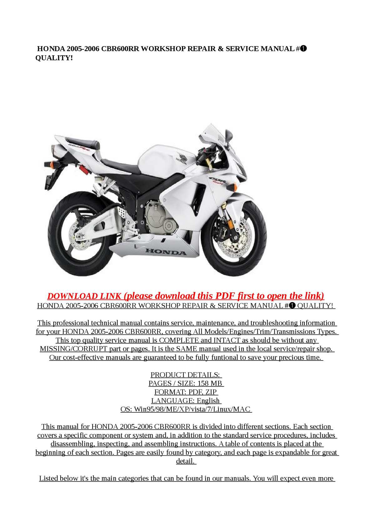 Calameo Honda 2005 2006 Cbr600rr Workshop Repair
