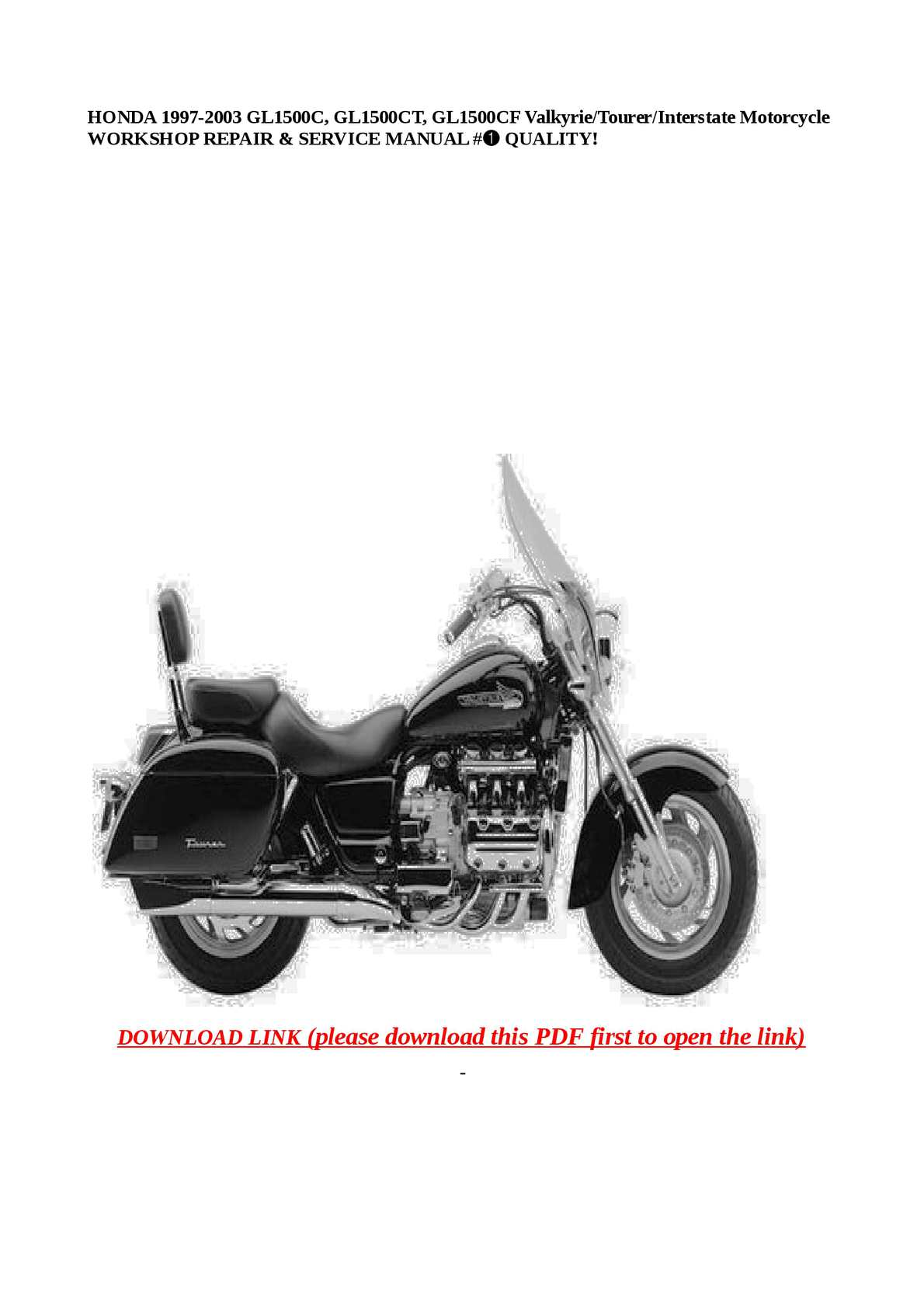 Calaméo - HONDA 1997-2003 GL1500C, GL1500CT, GL1500CF  Valkyrie/Tourer/Interstate Motorcycle WORKSHOP REPAIR & SERVICE MANUAL #➀  QUALITY!