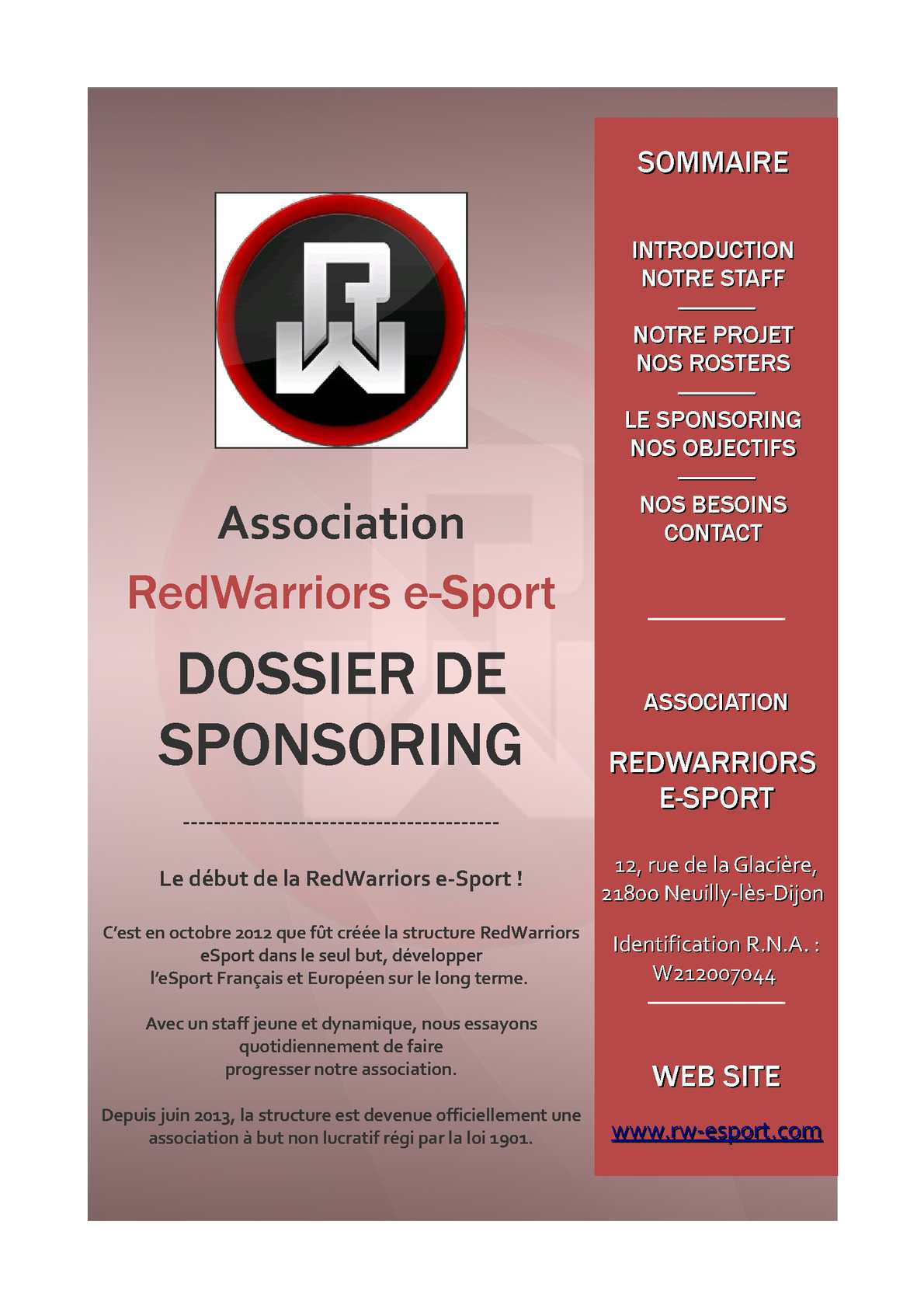 Dossier De Sponsoring Exemple Pdf Download Articles Depot