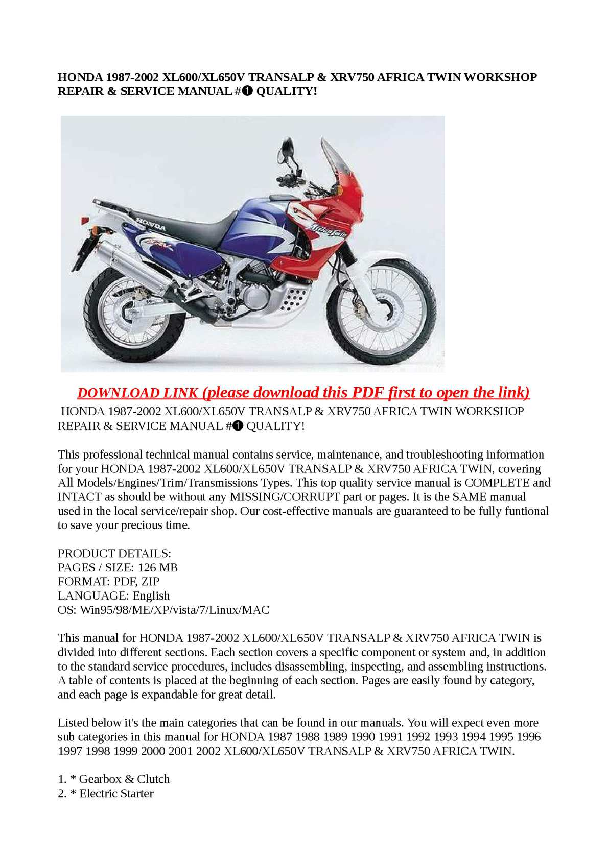 Calaméo - HONDA 1987-2002 XL600/XL650V TRANSALP & XRV750 AFRICA TWIN WORKSHOP  REPAIR & SERVICE MANUAL #➀ QUALITY!