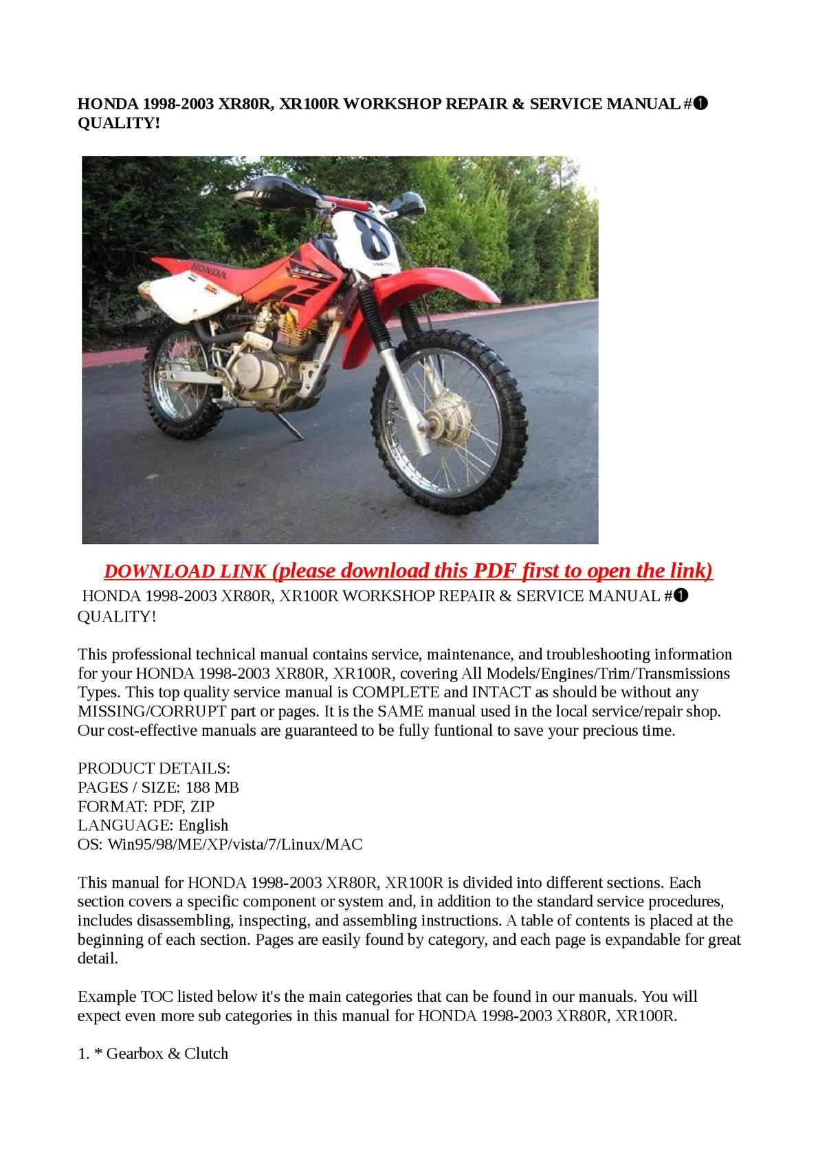 Calaméo - HONDA 1998-2003 XR80R, XR100R WORKSHOP REPAIR & SERVICE MANUAL #➀  QUALITY!
