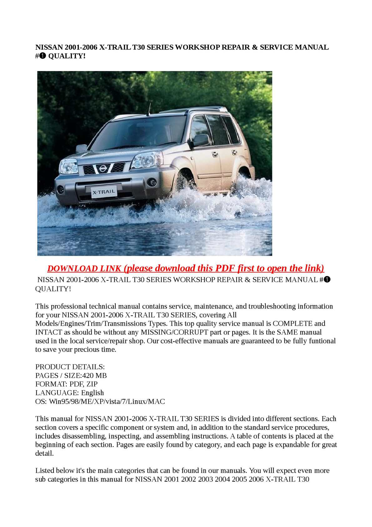Calaméo - NISSAN 2001-2006 X-TRAIL T30 SERIES WORKSHOP REPAIR & SERVICE  MANUAL #➀ QUALITY!