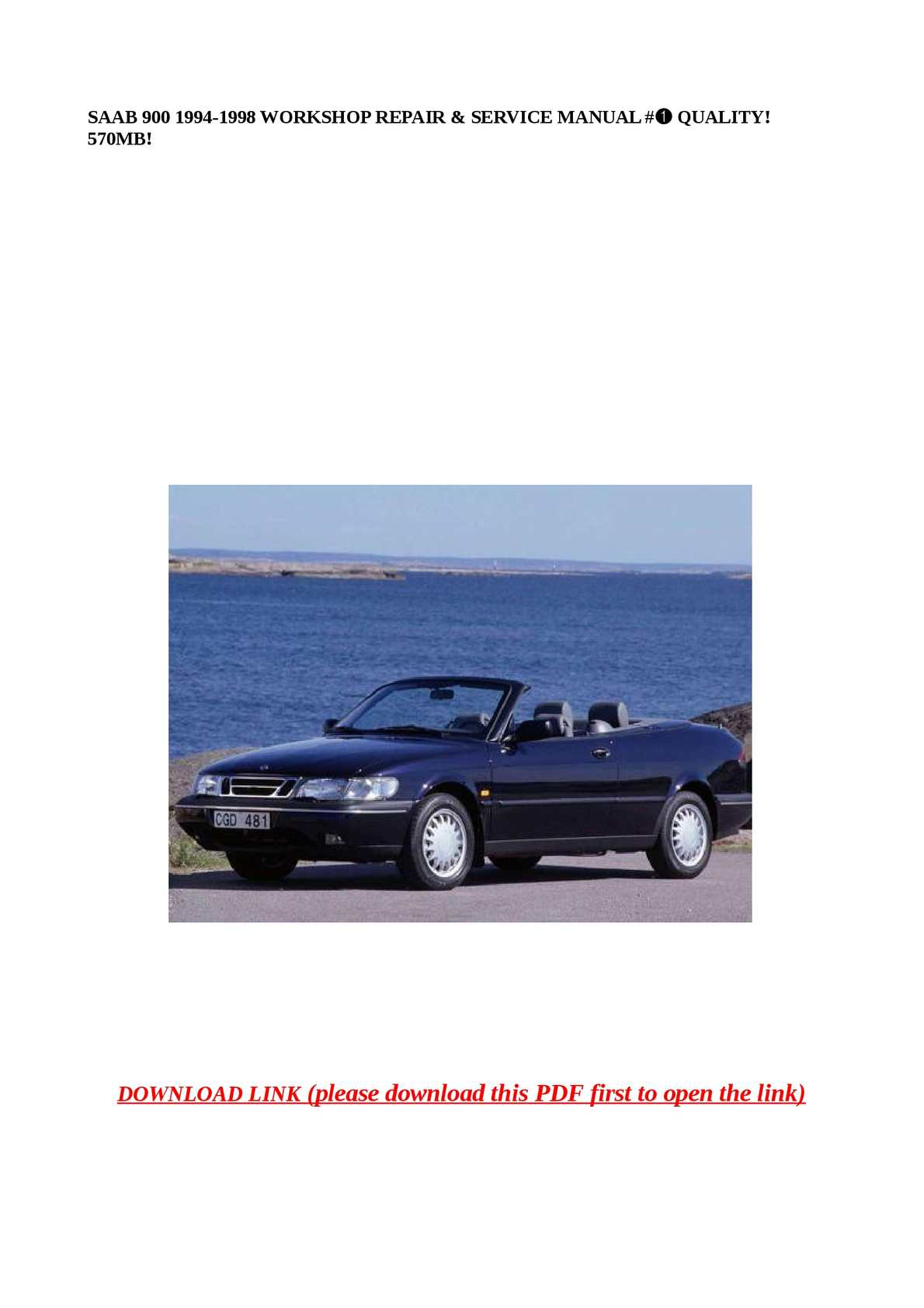 Calaméo - SAAB 900 1994-1998 WORKSHOP REPAIR & SERVICE MANUAL #➀ QUALITY!  570MB!