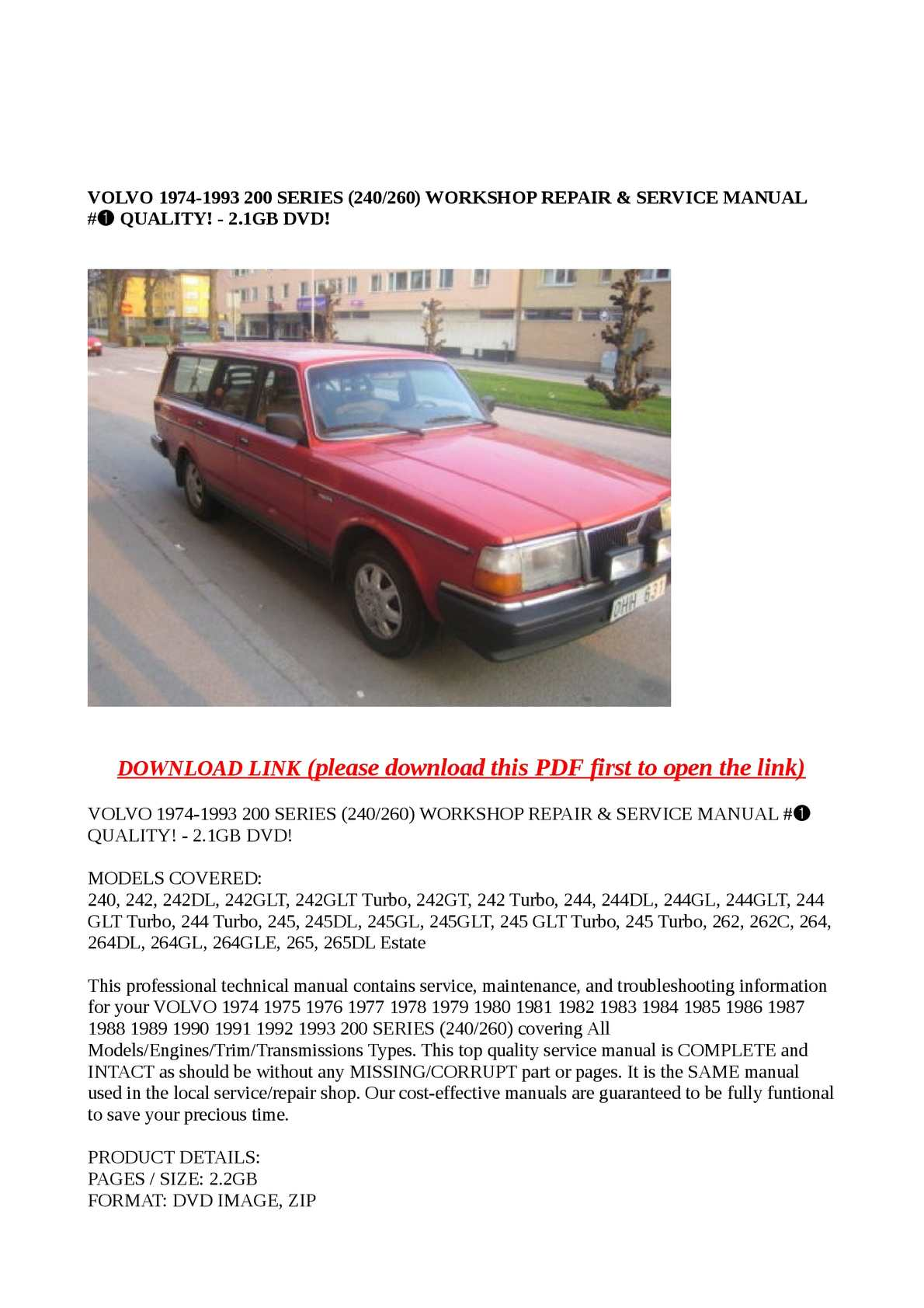 Calaméo - VOLVO 1974-1993 200 SERIES (240/260) WORKSHOP REPAIR & SERVICE  MANUAL #➀ QUALITY! - 2.1GB DVD!