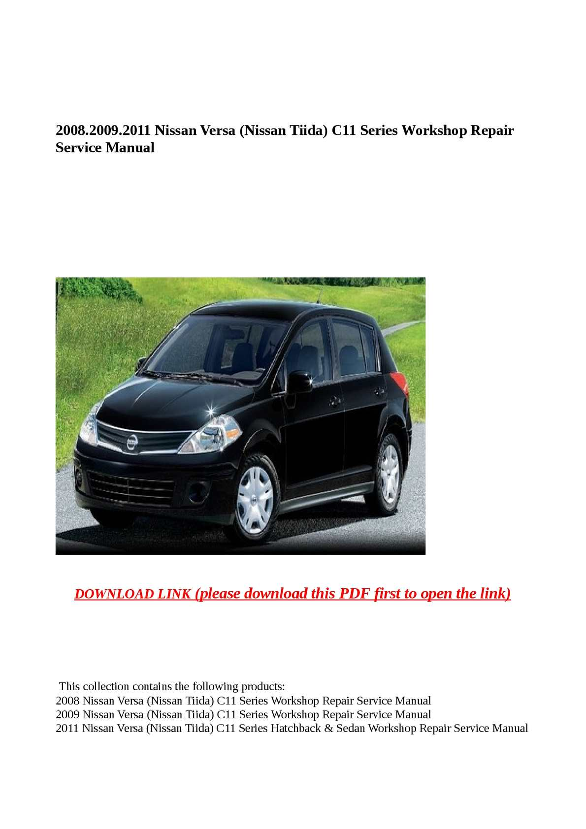 Calaméo - 2008.2009.2011 Nissan Versa (Nissan Tiida) C11 Series Workshop Repair  Service Manual
