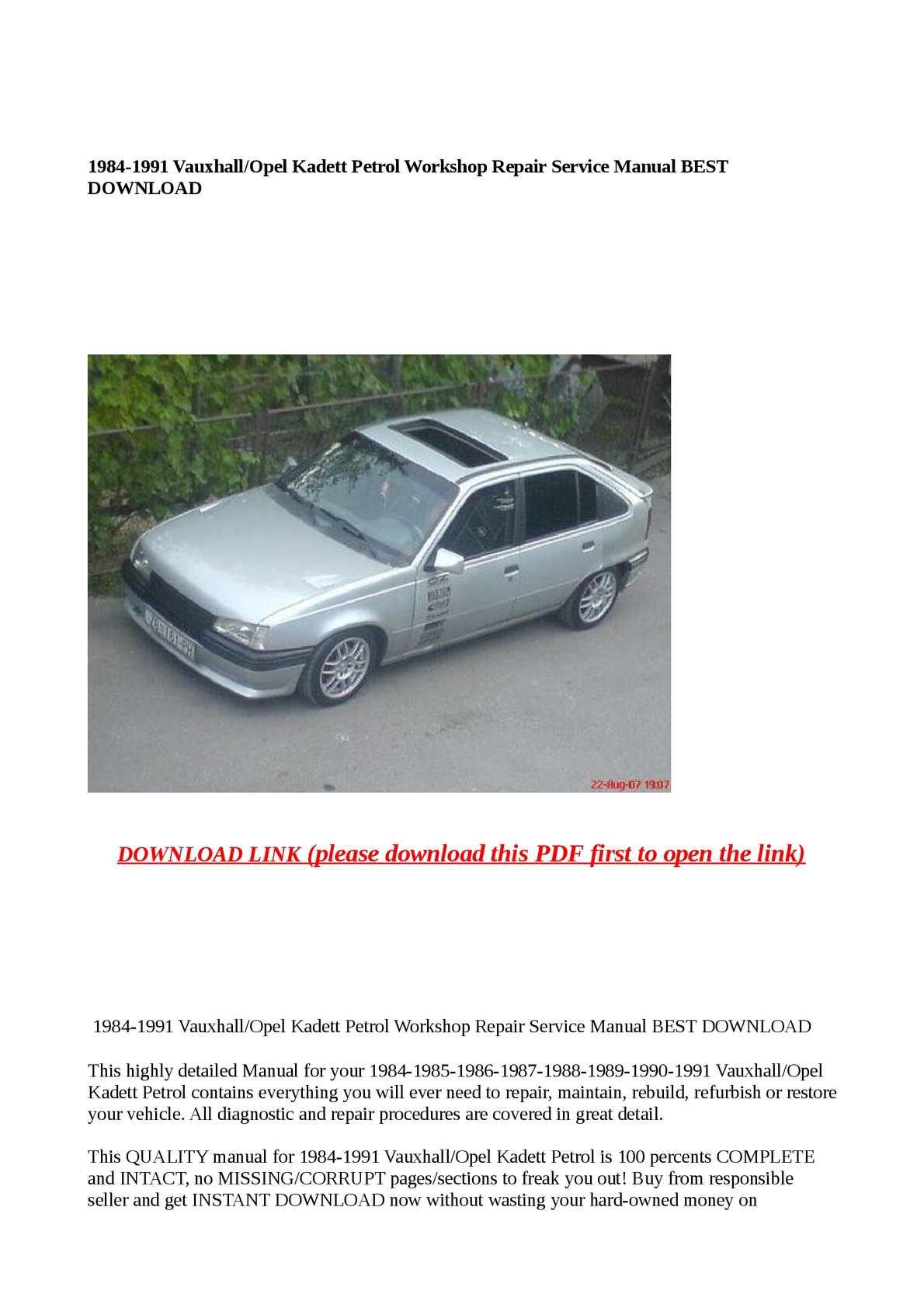 Calaméo - 1984-1991 Vauxhall/Opel Kadett Petrol Workshop Repair Service  Manual