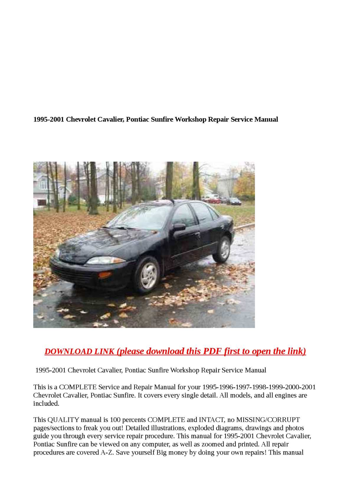 Chevy Cavalier service manual 1998 Movies list