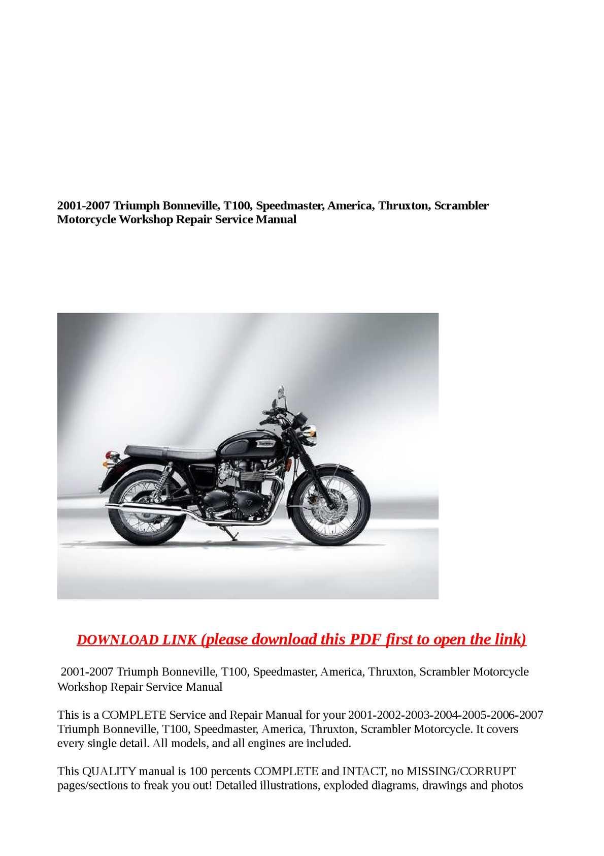 triumph bonneville t100 service manual free pdf